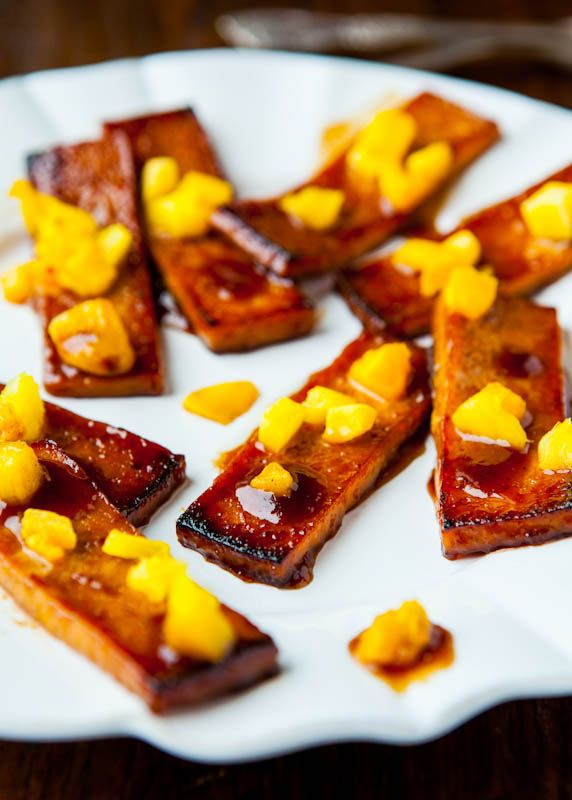 Barbeque Tofu with Pineapple & Mango. Restaurant style tofu with ...