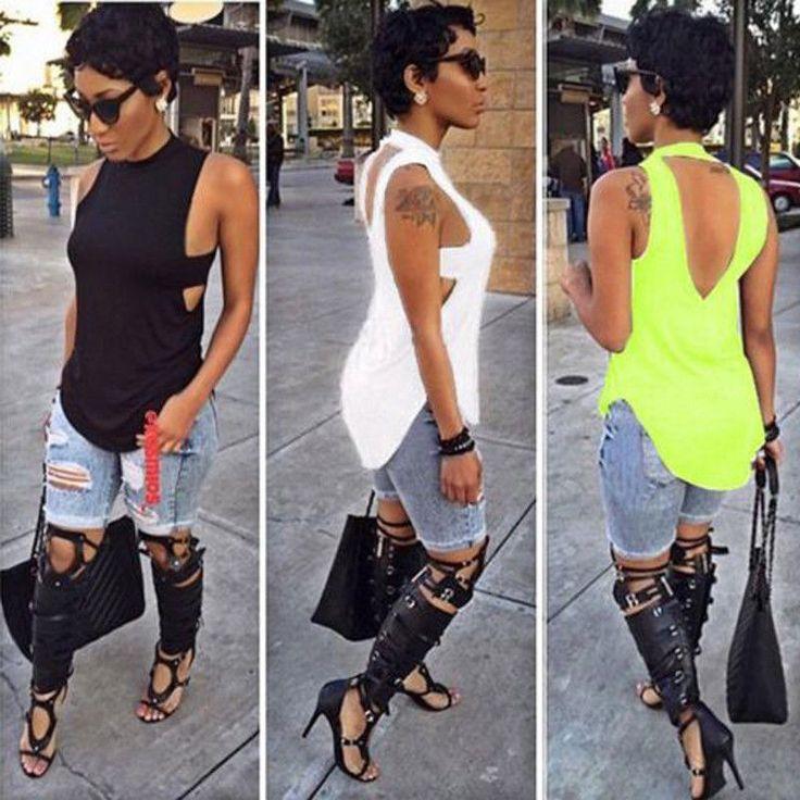 Fashion Women Ladies Sleeveless Summer Loose Casual Shirt Tank Tops Vest Blouse…