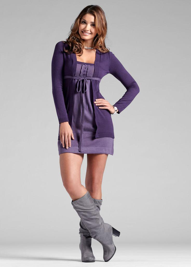 Strickkleid lila/helllila jetzt im Online Shop von bonprix.de ab ? 28,99 bestellen. Trendy Strickkleid in Doppeloptik, vorne mit Knöpfen verziert, mit einem ...