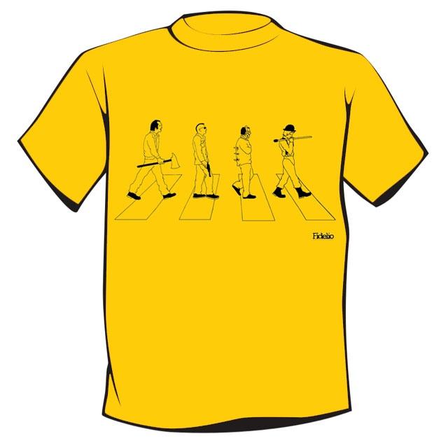 info.fidelioblog@gmail.com  *PSYCHOS (On Abbey Road)*: Jack Torrance - SHINING, Travis Bickle - TAXI DRIVER, Hannibal Lecter - IL SILENZIO DEGLI INNOCENTI, Alex DeLarge - ARANCIA MECCANICA.  Taglie Uomo/Donna dalla S alla XL, contattare il venditore per la disponibilità.  Stampa serigrafica a 1 colore.  100% cotone, manica corta, girocollo.  Disponibile in giallo, rosso e bianco per uomo.  Disponibile esclusivamente in rosso per donna.