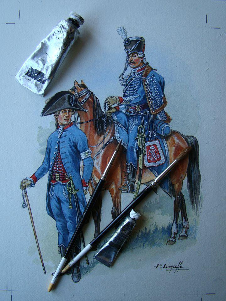 French; Hussards de Béon, a Royalist émigré Regiment, 1793-94 by P.Courcelle