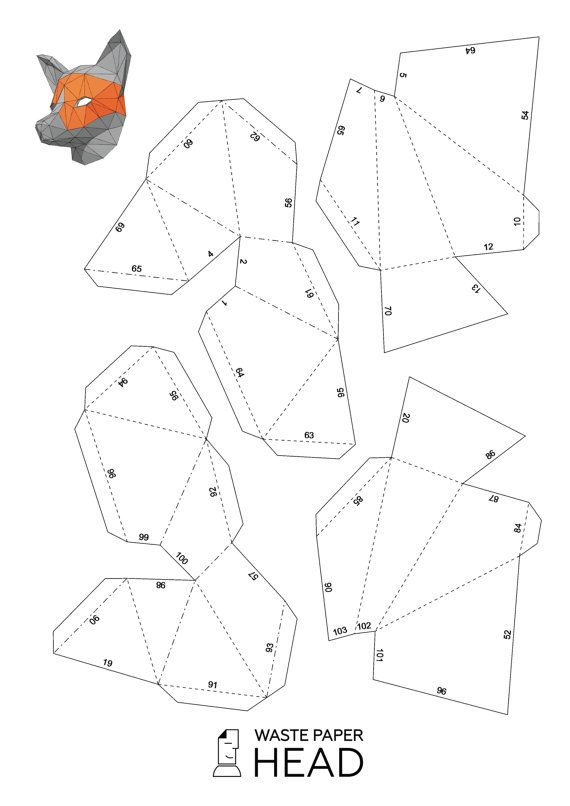 You can make your own fox mask!  Printable DIY template (PDF) contains 5 pages. Use 160-240 g/m2 colored paper. The template should be printed on A3 paper format (fit)!!!  Check out our tutorials on youtube.com/channel/UCTO0rWB3sQv161fWv0yG79Q. More photos on www.behance.net/alisa_slonishyna and instagram.com/explore/tags/wastepaperhead.  Please, dont share the file or any part of it for financial or any other purposes. If you are dissatisfied with your purchase, please email me before…