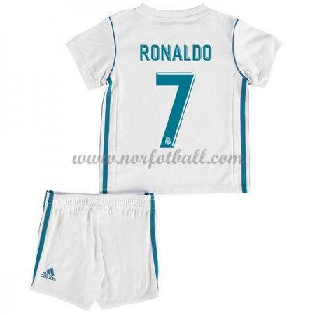 Billige Fotballdrakter Real Madrid Barn 2017-18 Cristiano Ronaldo 7 Hjemme Draktsett Fotball Kortermet