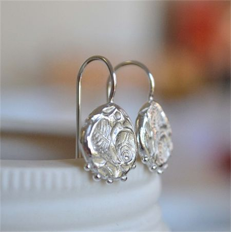 Beautiful Sterling Silver Rose Relic Hook Earrings handmade from scratch
