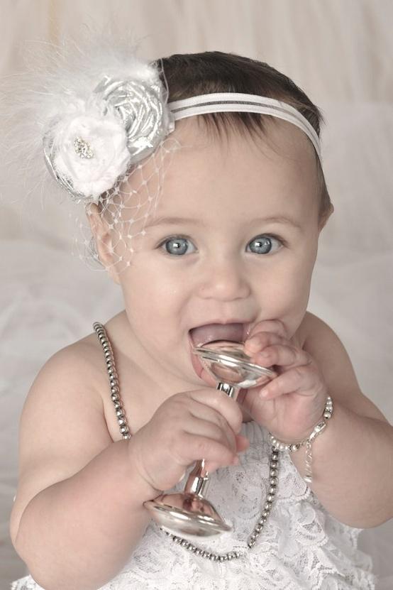 Baptism Baby Headband Christening Flower Girl by nanarosedesigns