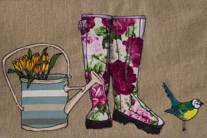 Wellies ~ Free hand machine Embroidery