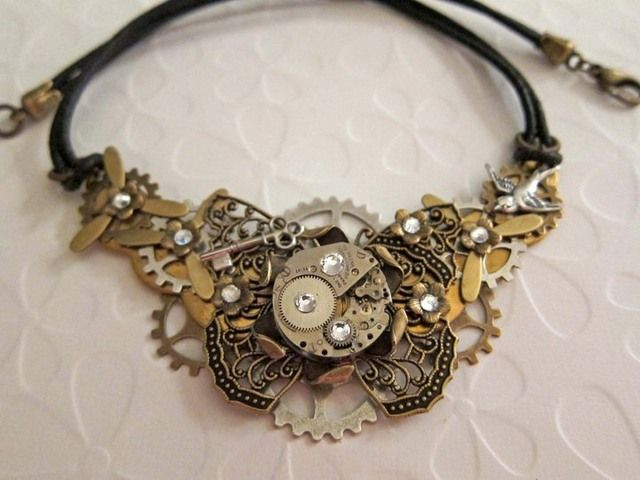 necklace asymmetrical charms coppertronic gears jewelry steampunk upcycled art <3