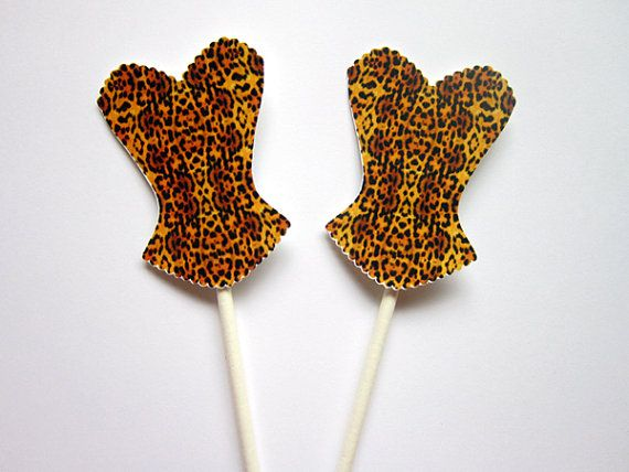 This listing is for (12) Leopard Corset Cupcake Toppers / Leopard Corset Cupcake Toppers. These cute Cupcake Toppers would be perfect for your bridal
