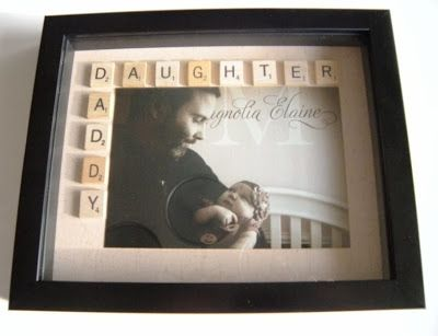 Scrabble Tile Daddy Daughter Shadow Box Photo Gift For