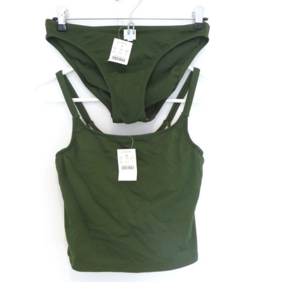 NWT J Crew tankini bikini set 4 D Cup Small New with tags from J. Crew. Dark military green tankini top and classic bikini bottom. The top is size 4, D cup, it's more of a cropped tank style. Bottom is size small. 81% nylon, 19 % lycra J. Crew Swim Bikinis