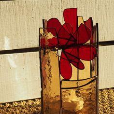 Photophore en verre vitrail tiffany ambré rouge