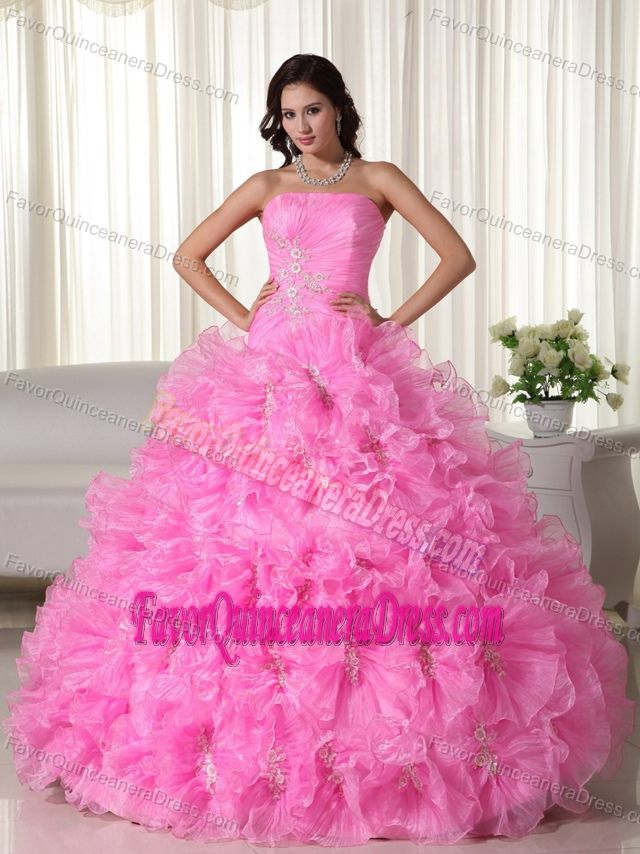 446cc443e08 Ball Gown Rose Pink Strapless Beaded Quinceanera Dresses with Appliques