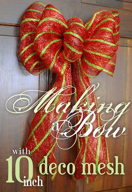 "DIY: Making bows with 10"" deco mesh ribbon-an easy tutorial. (Cool!!! I just happen to have a roll of this in white/silver left over from my wedding!)"