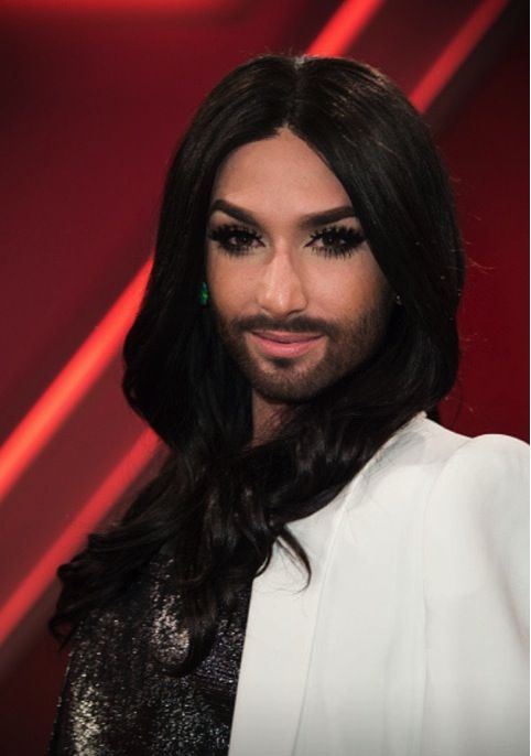 "Conchita Wurst wears ‪#‎MARTACUCCINIELLO‬! Some pictures from the Austrian superstar yesterday partecipation to the political show ""Menschen bei Maischberger"" (ARD, Cologne April 14th, 2015), wearing the black & platinum ‪#‎organza‬ & ‪#‎jacquard‬ shirt from ‪#‎SS15‬ collection."