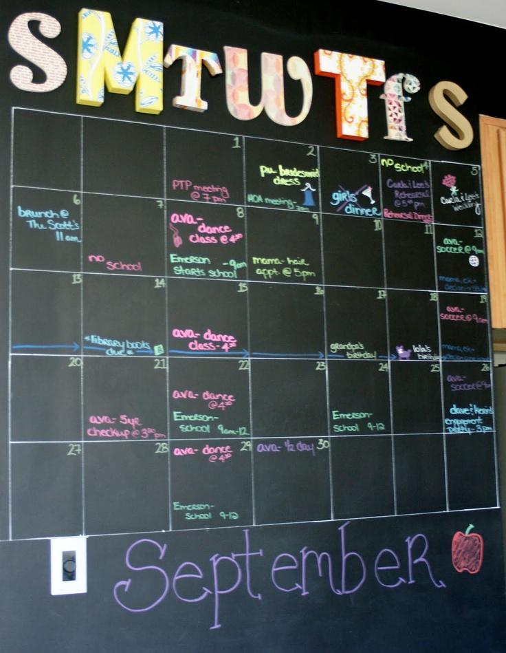 Plume Dandy Chalkboard Calendar Inspiration School