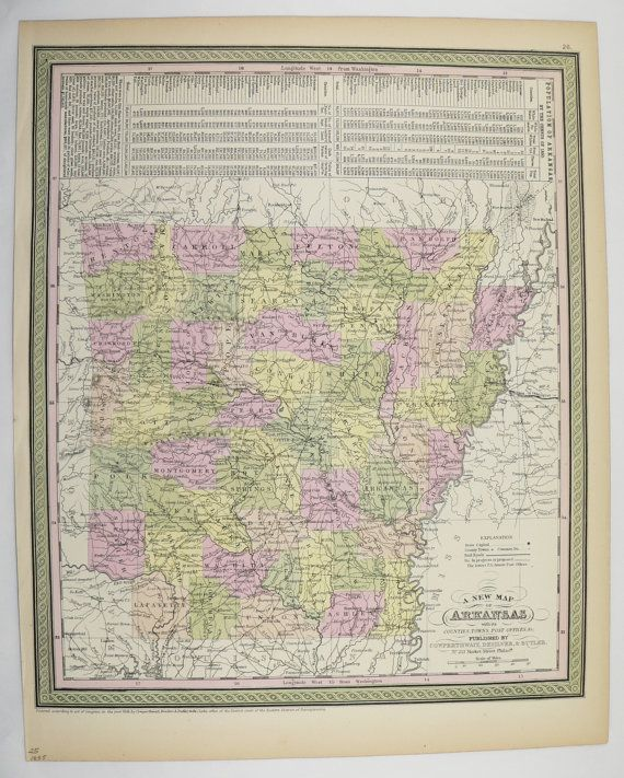 Arkansas Map 1855 Original Mitchell Map Special Gift Idea for the Home Office Gift Genealogy History Map Southern State Map Antique Wall Map by OldMapsandPrints on Etsy