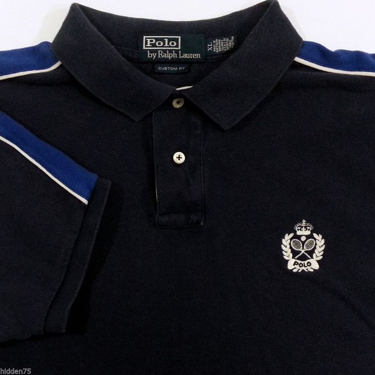 Polo Ralph Lauren Polo Shirt XL Mens Blue White Custom Fit 100% Cotton #PoloRalphLauren #PoloRugby #ArtieBobs #MensFashion