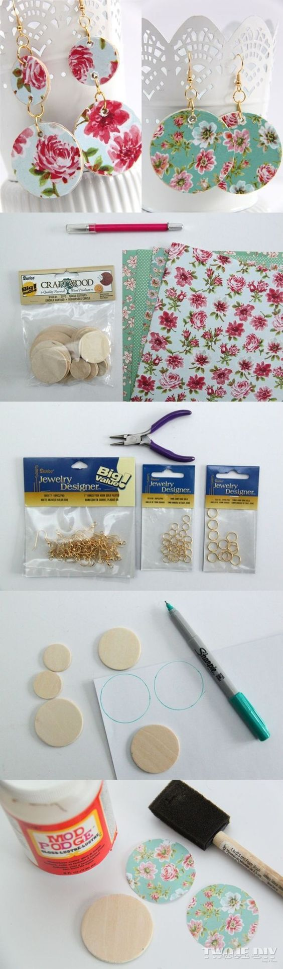 The best DIY projects & DIY ideas and tutorials: sewing, paper craft, DIY... Best DIY Ideas Jewelry: Kolczyki decoupage -Read More -