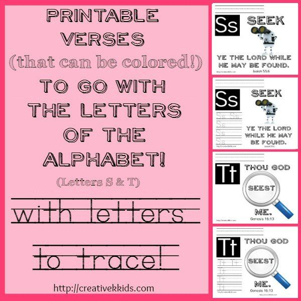 Here are some verse printables for the letters S & T. Some printables also have tracing practice for the letters S & T. Based on ABeka curriculum for K-5.