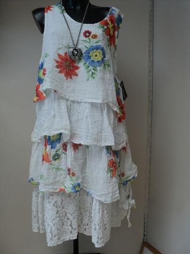 SARAH SANTOS SUMMER RUFFLE/LAYERED DRESS 100%LINEN + Lined (SIZE SANTOS LARGE)   eBay
