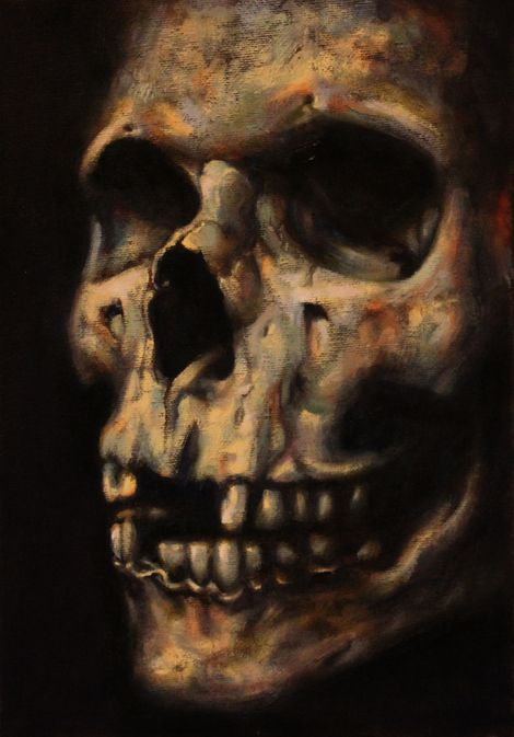 Skull 29 x 20 cm oils on canvas panel