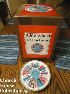 Bible Wheel of Fortune. This would be easy to make. I'm pretty sure my family owned a version of this when I was little, as well as Bible Trivial Pursuit!