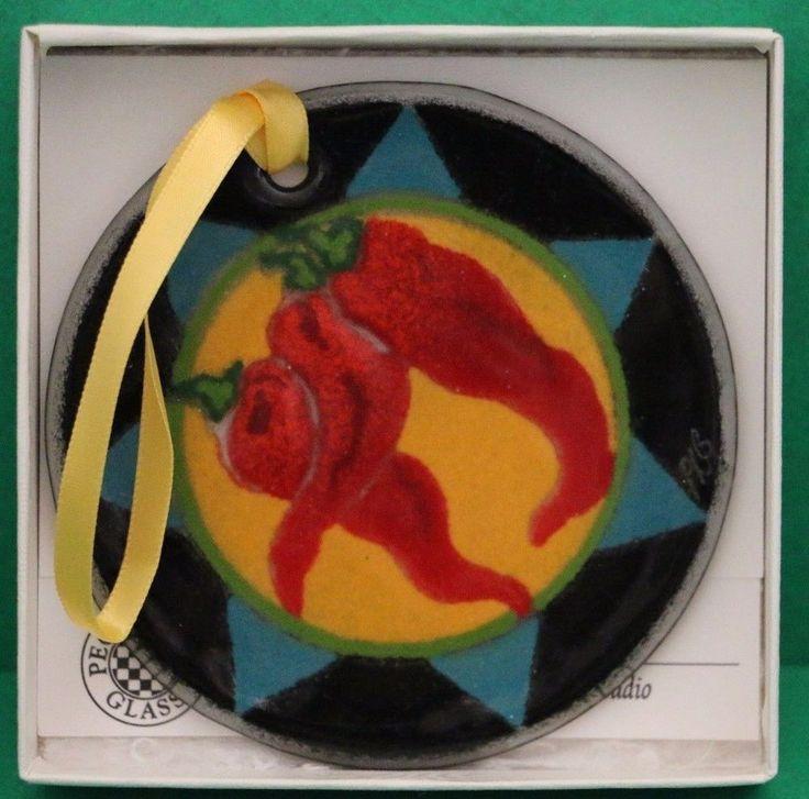 "Peggy Karr Art Glass Chilies Christmas Ornament 3"" in box 1103OCHIL"