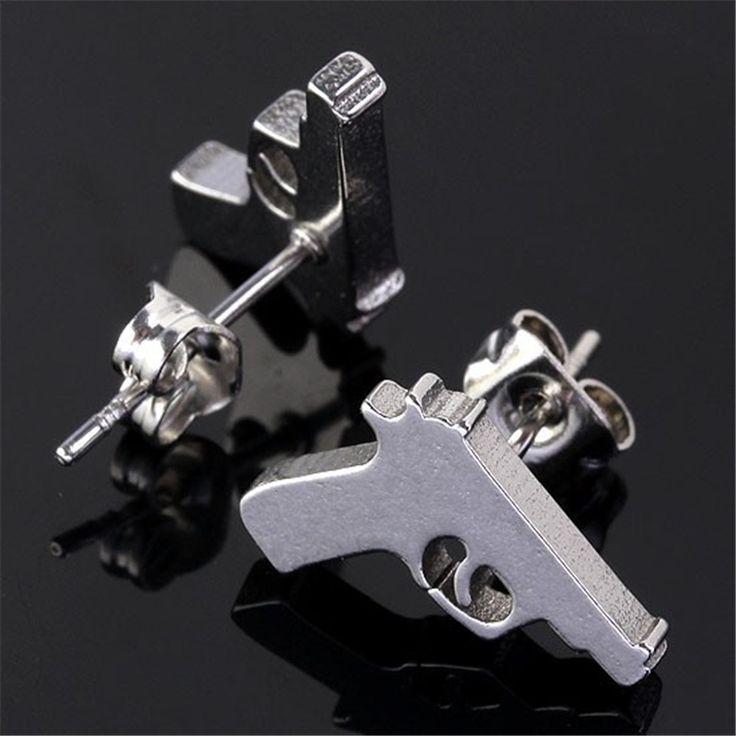 Hot Punk Cool Gun Men Earrings Women Stainless Steel Pistol Earring Mens Ear Studs Unisex Earlets Wholesale Price