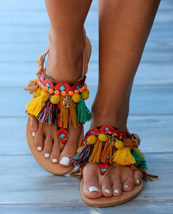 Sandali di cuoio fatti a mano realizzati su di DimitrasWorkshop
