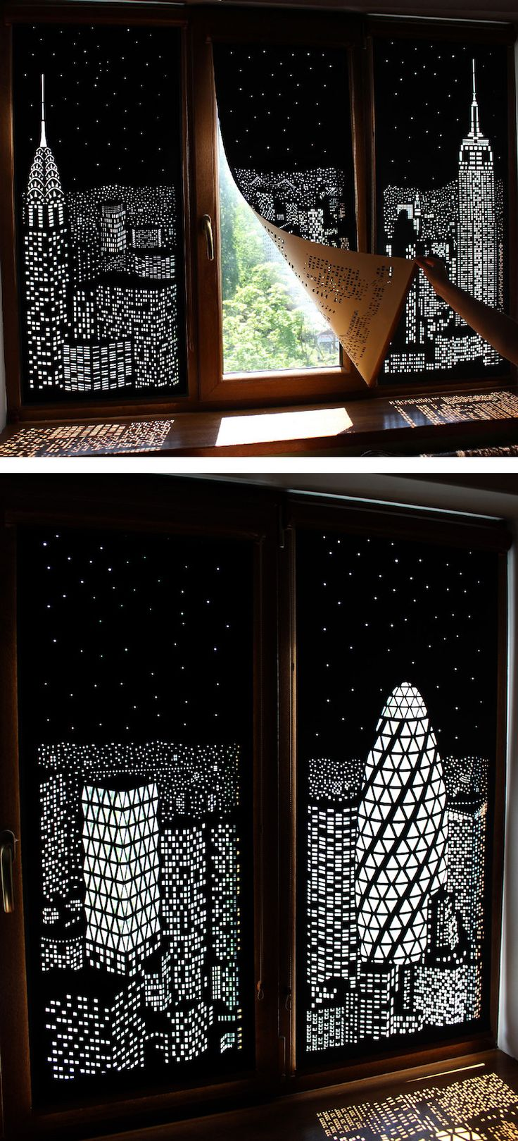 Ukrainian designers HoleRoll have created a unique window blinds that double as spectacular works of shadow art.