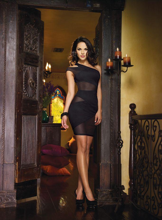 Tiffany Jades Lingerie - Dreamgirl Black Symmetrical One Shoulder Dress, £42.99 (http://www.tiffanyjadeslingerie.com/dreamgirl-black-symmetrical-one-shoulder-dress/)