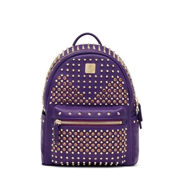 MCM Small Swarovski Backpack In Purple