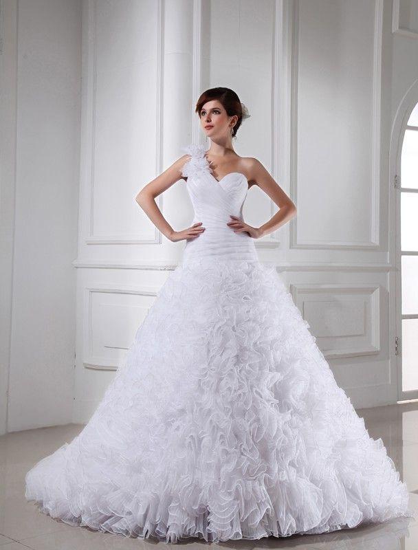 Ball Gown Beading One-shoulder Sweetheart Sleeveless Chapel Train Organza Wedding Dresses DressyWell