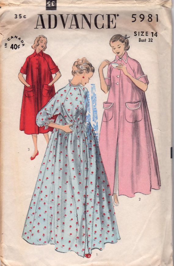 vintage 1950s robes | Advance 5981 1950s Misses Duster Robe Peignoir womens vintage sewing ...