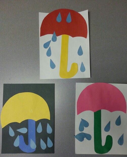 Preschool Spring umbrella craft - for basic concepts (color, size, prepositions) and to go along with a rain story.