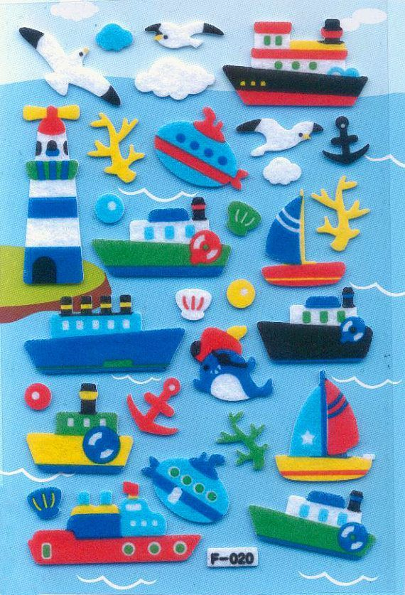 Korean Scrapbook Felt Stickers, Fun in the Sea (STSM03002) via Etsy