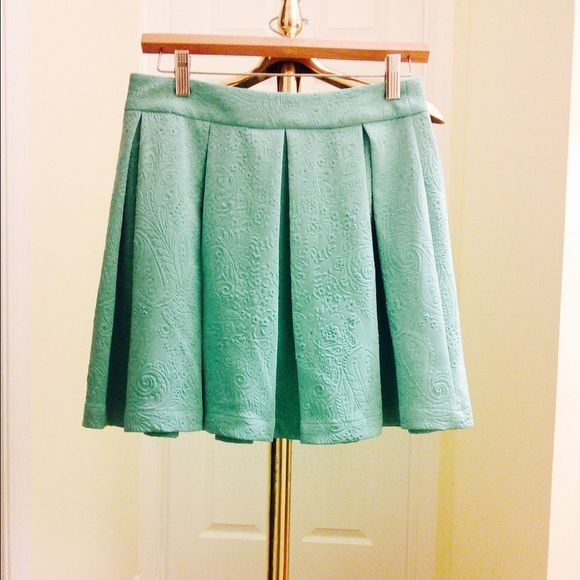 Mint Green Floral Embossed/Brocade Skirt NWT NWT and great deal! A fun and feminine little number from Piperlime. Mint green pleated skirt, scuba material, with intricate floral embossed/jacquard pattern. (Second pic is the stock photo from when I bought- shows fewer pleats for unknown reasons). Collective Concepts Skirts