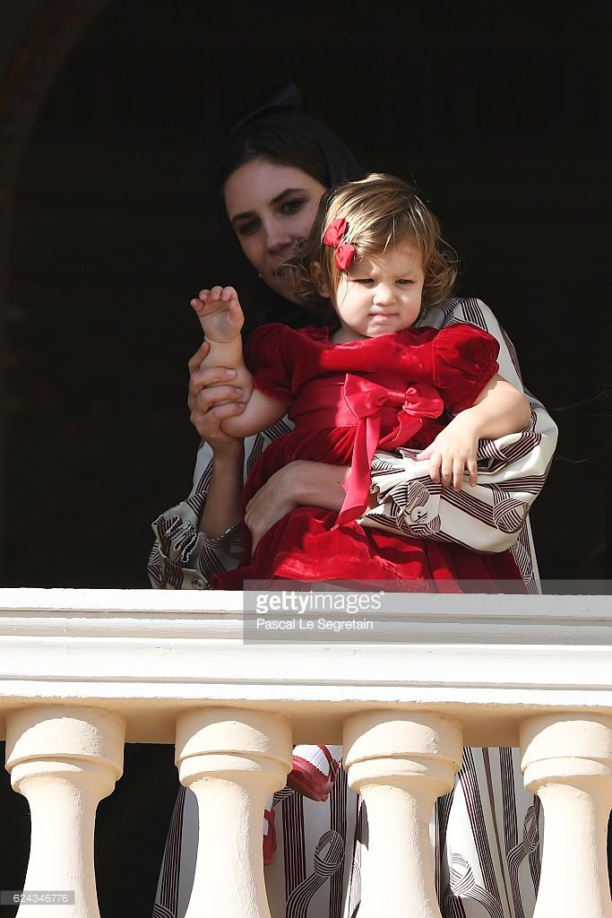Tatiana Santo Domingo and her daughter India Casiraghi greet the crowd from the palace's balcony during the Monaco National Day Celebrations on November 19, 2016 in Monaco, Monaco.  (Photo by Pascal Le Segretain/Getty Images)