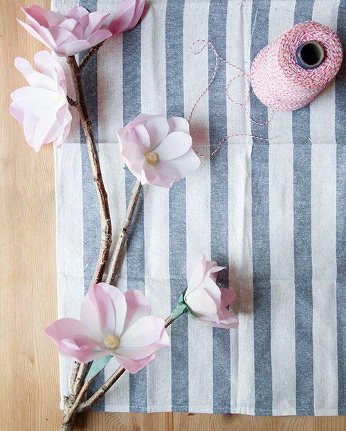 Design*Sponge | DIY Project: Waxed Paper Magnolia Branch
