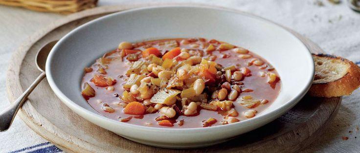 Curtis Stone   White Bean and Chorizo Soup with Crostini