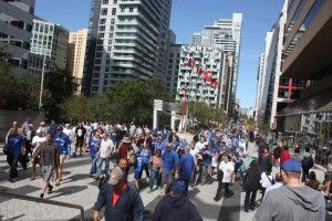 Blue Jay Way is  excellent example of pedestrian streets where people complete the street.   A place where during the world series playoff's the fans celebrated, walked and enjoyed the weather on the street.  This photo was taken at Blue Jays Way.  This photo was taken at Blue Jays Way Photo Credit: Richard Trus - Cochrane - www.richardtrus.com This is what makes a street more complete #TOcompletestreets