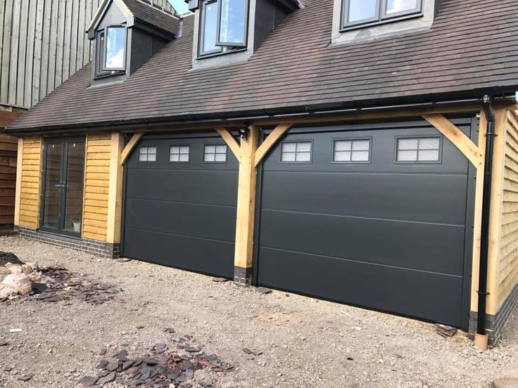 pair of Alutech sectional garage doors insulated and remote with Georgian windows to the top anthracite & Best 25+ Garage door remote ideas on Pinterest | Contemporary ... pezcame.com