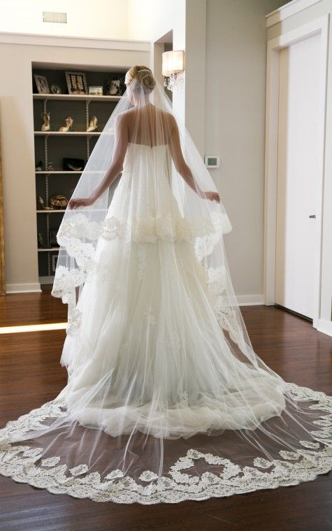 Cathedral veil with Alencon Lace and 40″ blusher by Elizabeth Johns.
