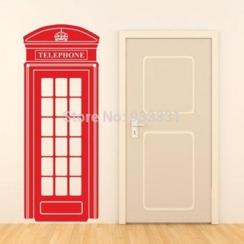 150 x 58 cm londres cabina de teléfono etiqueta de la pared retro reino unido teléfono pegatinas de arte mural vinilo decoración