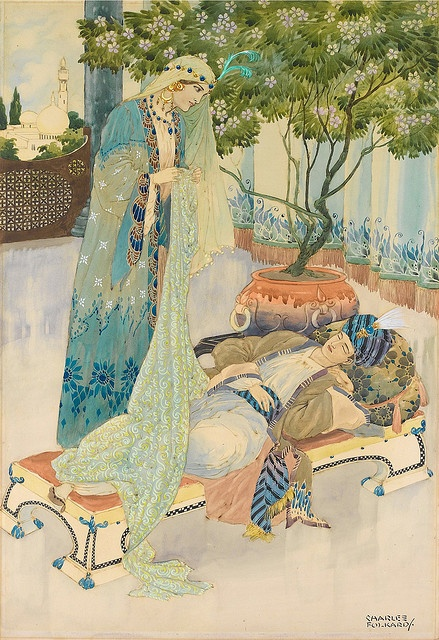 "Charles Folkard, ""Arabian nights"" the Thousand and one Nights 1001 Arabian Nights. Sheherezade.:"