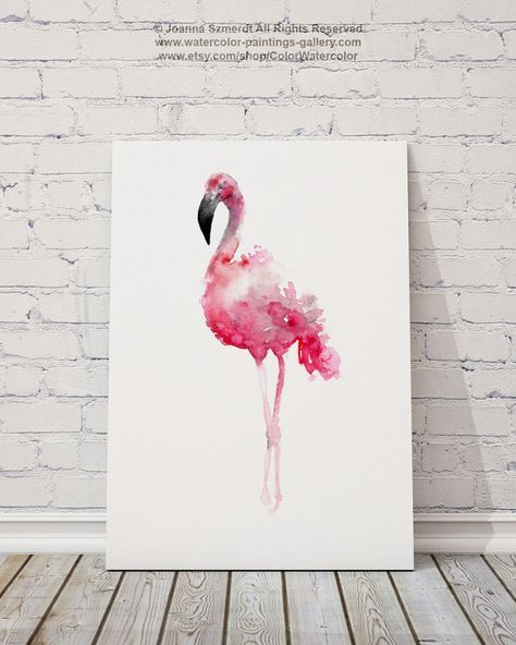 Flamingo Art Print Pink Wall Decor Bird Watercolor Painting in 2018