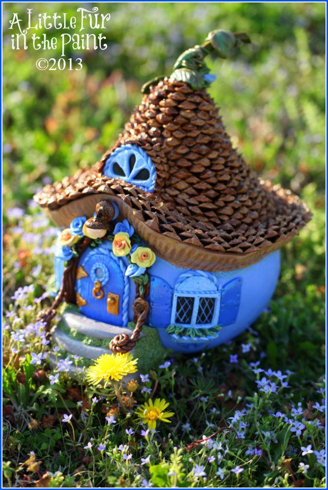 Anne Berbling ~ www.alittlefurinthepaint.blogspot.com Art ~ Fairy ~ Fae ~ Faerie ~ Fairy House ~ Gourd ~ Gourd Art