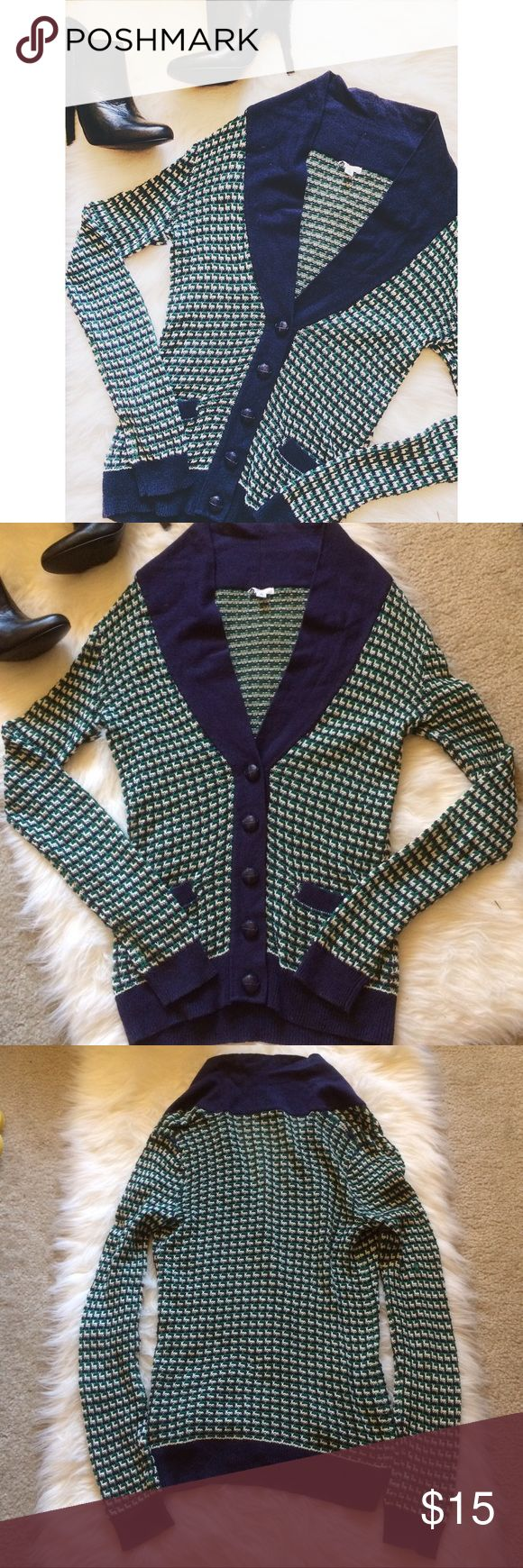 • bp • Blue & Green Sweater Cardigan This cardigan is perfect for a chilly night! It's fairly thin. Flaws shown above. 100% Cotton. 0703170med.  ✅Reasonable offers welcome! (**I usually don't counter-offer, so please make your highest offer 😊) ✅BUNDLE DISCOUNTS! 🚫No trades/paypal/other apps. Nordstrom Sweaters Cardigans