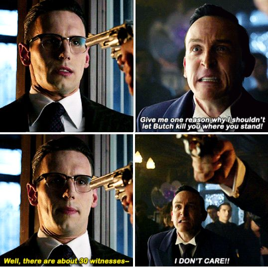 """Give me one reason why I shouldn't let Butch kill you where to stand!"" - Oswald, Ed and Butch #Gotham"