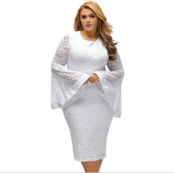 Big Size Lace Dress Elegant Women Bodycon Solid O-Neck Plus Size Flare Sleeves Lace Dresses Plus Size Black White Top Quality